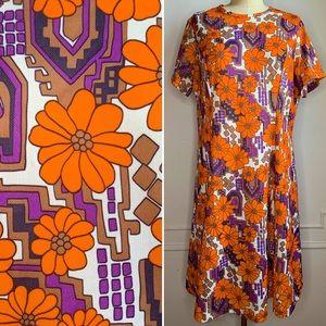 Vintage 70s Multicolor Floral Mini Dress